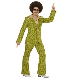 Mens Green 70S Suit Night Fever Fancy Dress Costume 1970S Groovy Outfit
