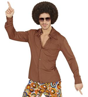 Mens Brown Groovy 70'S Shirt Fancy Dress Costume Night Fever 1970s Outfit Adult