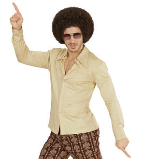 Mens Beige Groovy 70'S Shirt Fancy Dress Costume Night Fever 1970s Outfit Adult