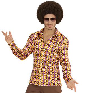 Mens Disc Groovy 70'S Shirt Fancy Dress Costume Night Fever 1970s Outfit Adult