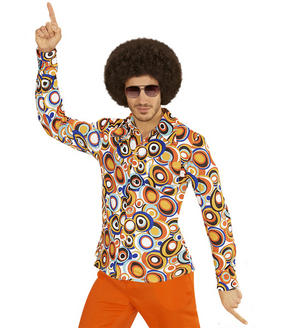 Mens Bubble Print Groovy 70'S Shirt Fancy Dress Costume Night Fever 1970s Outfit