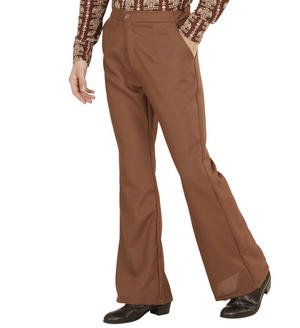 Mens Brown Flare Trousers 70S Fancy Dress Costume 1970S Disco Outfit Adult