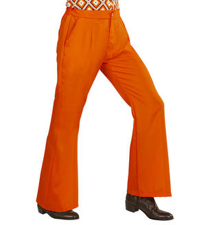 Mens Orange Flare Trousers 70S Fancy Dress Costume 1970S Disco Outfit Adult