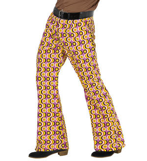Mens Disc Print Flare Trousers 70S Fancy Dress Costume 1970S Disco Outfit Adult