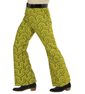 Mens Green Retro Flare Trousers 70S Fancy Dress Costume 1970S Disco Outfit