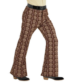 Mens Brown Retro Flare Trousers 70S Fancy Dress Costume 1970S Disco Outfit