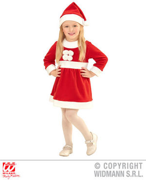 Childs Kidsl Mrs Claus Christmas Fancy Dress Costume Mrs Santa Outfit