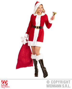 Womens Ladies Mrs Claus Christmas Fancy Dress Costume Mrs Santa Outfit Adult