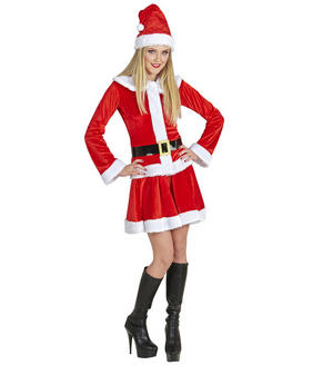 Womens Ladies Classic Mrs Claus Christmas Fancy Dress Costume Mrs Santa Outfit