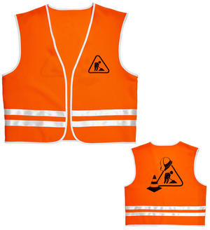 Mens Male Construction Worker Vest Builder Fancy Dress Costume Outfit Adult