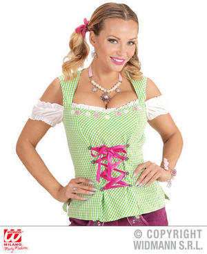 Womens Ladies Green Bavarian Blouse Oktoberfest Fancy Dress Costume Outfit Adult