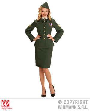 Womens Ladies Green Army Officer Fancy Dress Costume Military Soldier Outfit