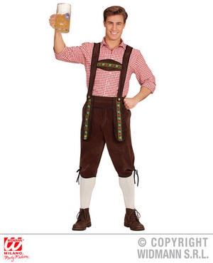 Mens Bavarian Lederhosen Fancy Dress Costume Oktoberfest German Outfit Adult