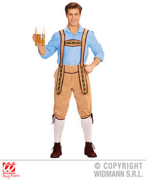 Mens Yellow Bavarian Lederhosen Fancy Dress Costume Oktoberfest German Outfit