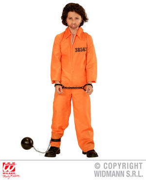 Childs Kids Orange Jail Inmate Boy Fancy Dress Costume Prisoner Outfit 3-13 Yrs