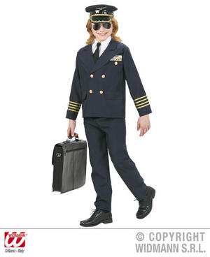 Childs Kids Navy Pilot Suit Fancy Dress Costume Aviation Outfit 5-16 Yrs
