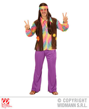 Mens Funky Hippie Man Fancy Dress Costume 1970S Peace Hippy Outfit Adult