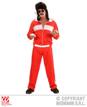 Mens Red Tracksuit 70S 80S Scouser Fancy Dress Costume Outfit Adult