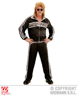Mens Black Tracksuit 70S 80S Scouser Athlete Fancy Dress Costume Outfit Adult