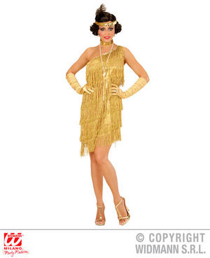 Womens Ladies Gold Flapper Girl Charleston Fancy Dress Costume 1920s Outfit