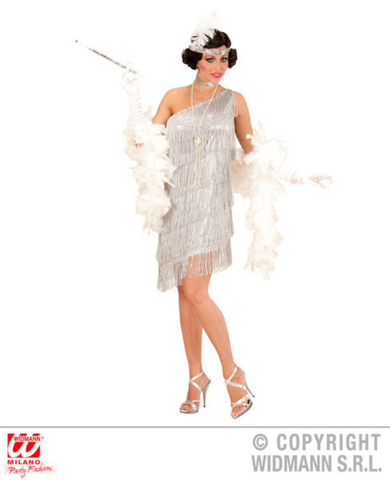Silver Flapper Costume Roaring 1920s Womens Ladies Charleston Fancy Dress Outfit