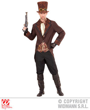 Mens Male Brown Steampunk Suit Victorian Era Fancy Dress Costume Outfit Adult