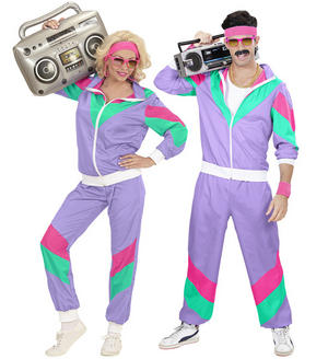 Unisex 80S Shell Suit Retro Tracksuit Shellsuit Fancy Dress Costume Outfit Adult