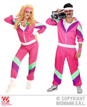 Womens Ladies 80S Pink Shell Suit 80s Shellsuit Fancy Dress Costume Outfit Adult