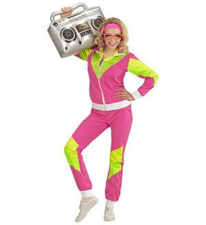 Womens Ladies Neon 80'S Shell Suit Retro 80s Shellsuit Fancy Dress Costume Adult