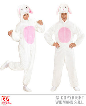Unisex Adult Plush White Easter Bunny Rabbit Fancy Dress Costume Outfit