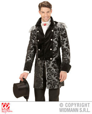 Mens Male Silver Prince Parade Coat Fancy Dress Costume Fairy Tale Outfit Adult