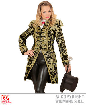 Womens Ladies Gold Parade Ladies Tailcoat Jacket Fancy Dress Costume Outfit