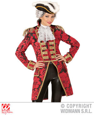 Womens Ladies Red Jacquard Parade Ladies Tailcoat Fancy Dress Costume Outfit XL