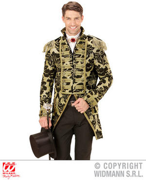 Mens Male Gold Circus Parade Tailcoat Fancy Dress Costume Outfit Adult