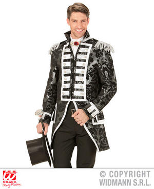 Mens Male Silver Circus Parade Tailcoat Fancy Dress Costume Outfit Adult