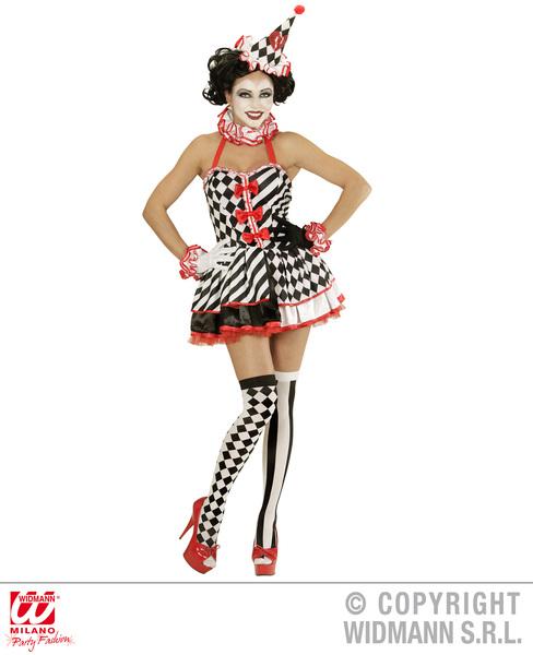 Womens Ladies Pierrot Clown Fancy Dress Costume Halloween Outfit Adult