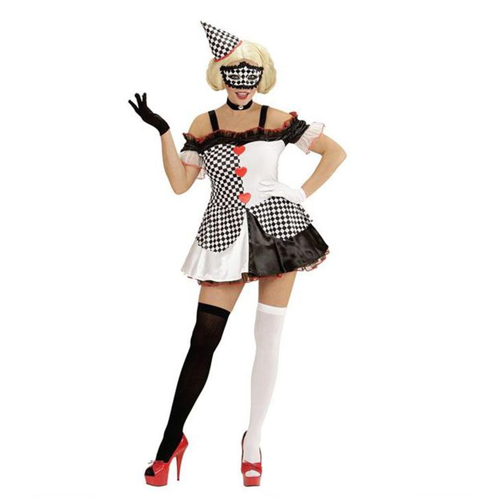 Womens Ladies Pierrot Harlequin Clown Fancy Dress Costume Halloween Outfit Adult
