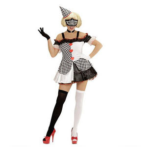 Womens Ladies Pierrot Harlequin Clown Fancy Dress Costume Halloween Outfit Adult