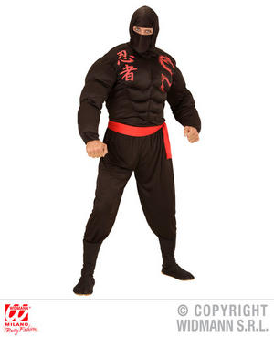 Mens Male Adult Muscle Suit Ninja Warrior Fancy Dress Costume Outfit Adult