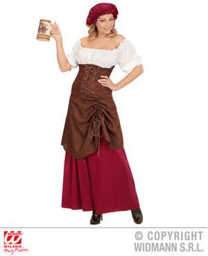 Womens Ladies Tavern Wench Fancy Dress Costume Bar Maid Outfit Adult