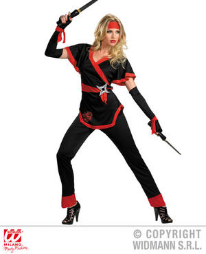 Womens Ladies Ninja Samurai Fancy Dress Costume Outfit Adult