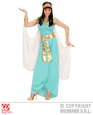 Womens Ladies Eqyptian Queen Blue Fancy Dress Costume Cleopatra Outfit
