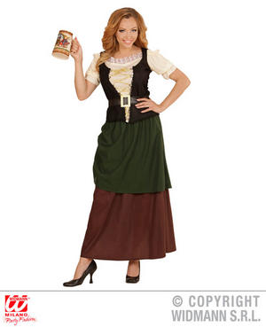 Womens Ladies Medieval Wench Fancy Dress Costume Bar Maid Outfit Adult