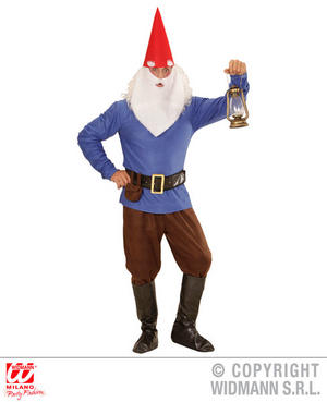 Mens Male Adult Blue Garden Gnome Fancy Dress Costume Dwarf Outfit Adult