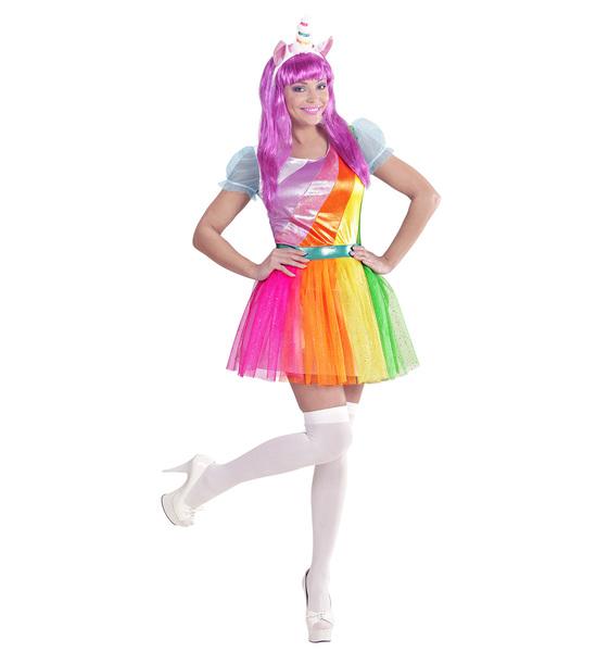 Womens Ladies Rainbow Unicorn Fancy Dress Costume Fairy Tale Outfit Adult