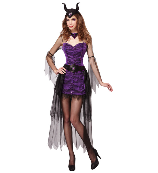 Womens Ladies Maleficent Fairy Fancy Dress Costume Halloween Outfit Adult