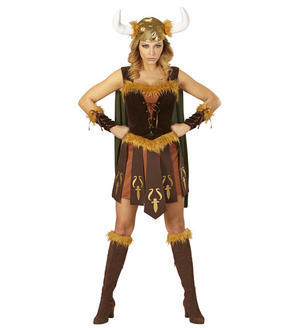 Womens Ladies Viking Lady Fancy Dress Costume Vikings Outfit Adult