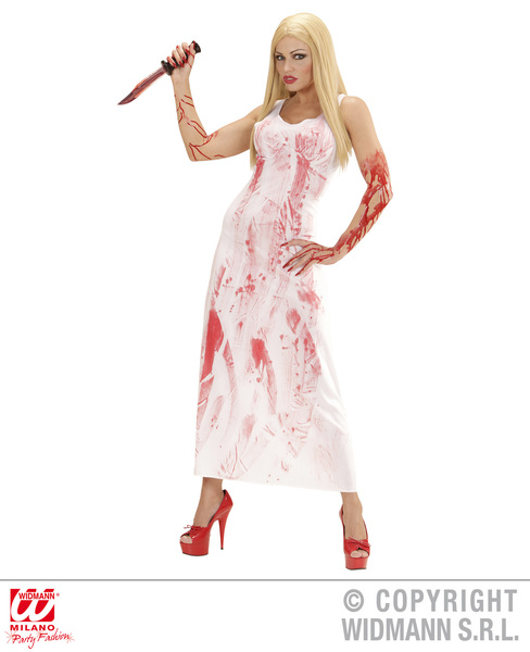 Womens Ladies Psycho Killer Girl Halloween Fancy Dress Costume Outfit Adult