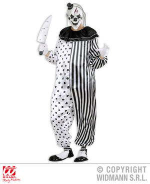 Mens Male Killer Pierrot Clown Fancy Dress Costume Halloween Circus Outfit Adult