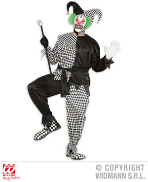 Mens Male Black White Evil Jester Fancy Dress Costume Halloween Outfit Adult